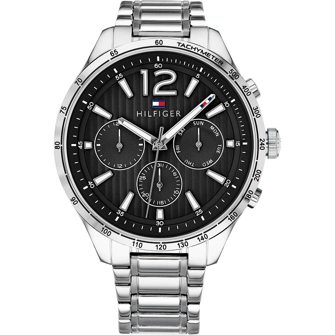 Orologio uomo Tommy Hilfinger, mod Gavin, cronografo, cinturino in acciaio, fondo nero ( THW1791469 )