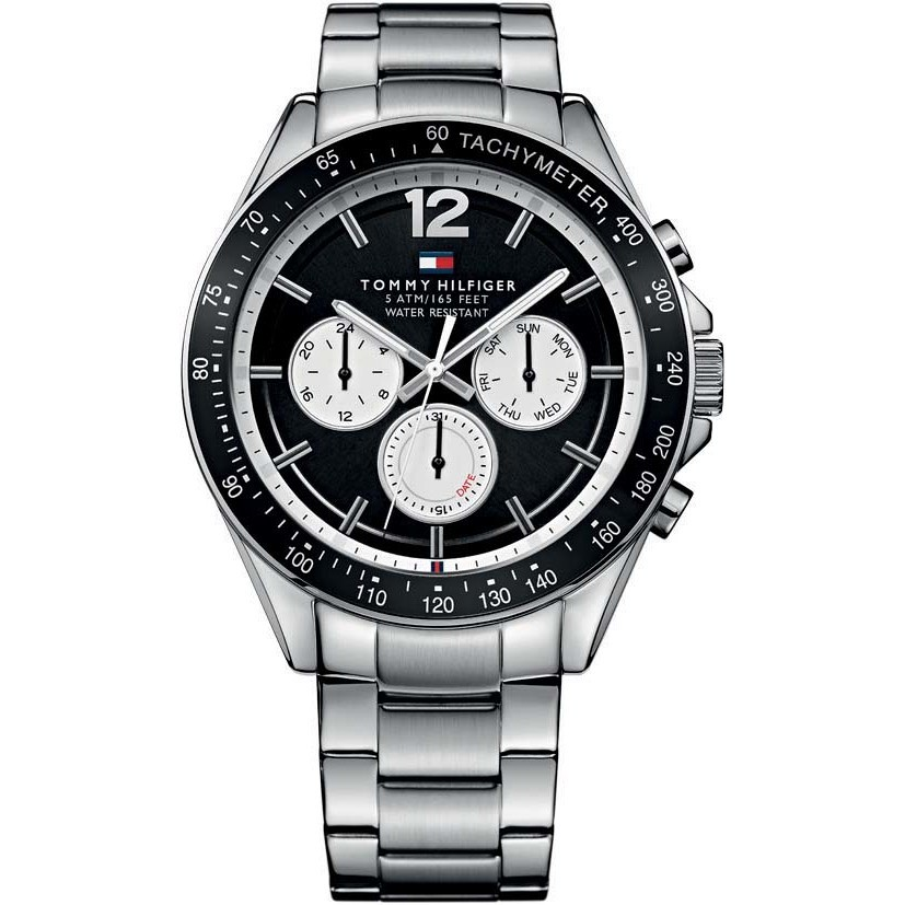 Orologio uomo Tommy Hilfinger, mod Luke, cronografo, cinturino in acciaio, fondo e ghiera nera ( THW1791120 )